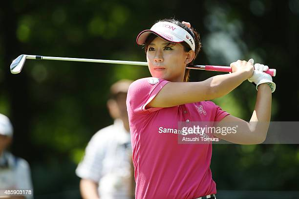 Kotono Kozuma of Japan hits her tee shot on the 7th hole during the final round of the Nitori Ladies 2015 at the Otaru Country Club on August 30 2015...