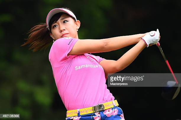 Kotono Kozuma of Japan hits her tee shot on the 8th hole during the second round of Stanley Ladies Golf Tournament at the Tomei Country Club on...