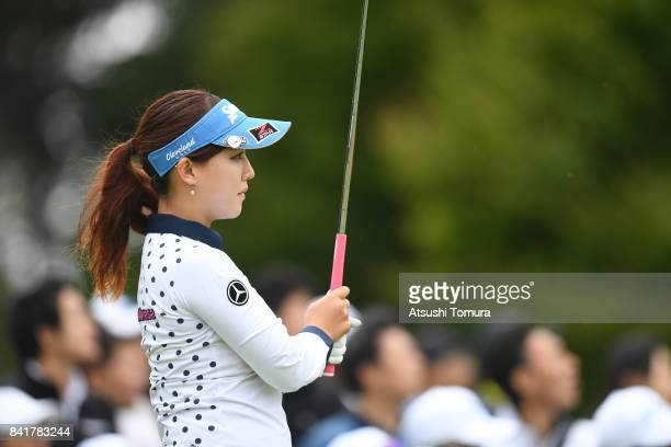 Kotono Kozuma of Japan hits her tee shot on the 8th hole during the second round of the Golf 5 Ladies Tournament 2017 at the Golf 5 Country Oak...