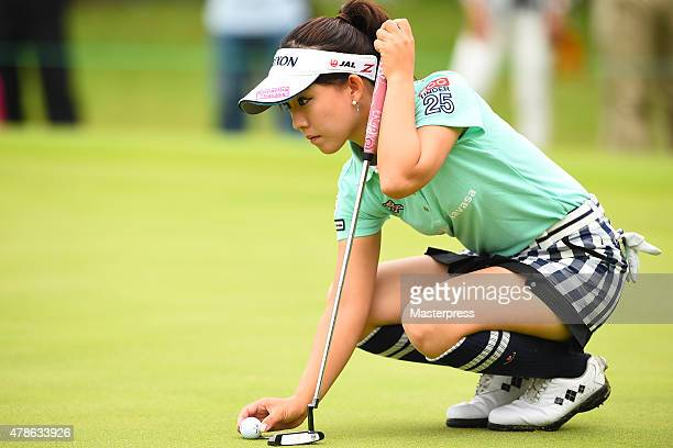 Kotono Kozuma of Japan lines up during the second round of the Earth Mondamin Cup at the Camellia Hills Country Club on June 26 2015 in Sodegaura...