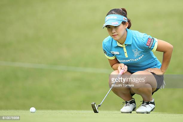 Kotono Kozuma of Japan lines up her birdie putt on the 5th green during the second round of the Miyagi TV Cup Dunlop Ladies Open 2016 at the Rifu...