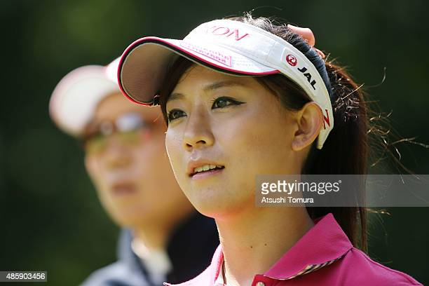 Kotono Kozuma of Japan looks on during the final round of the Nitori Ladies 2015 at the Otaru Country Club on August 30 2015 in Otaru Japan