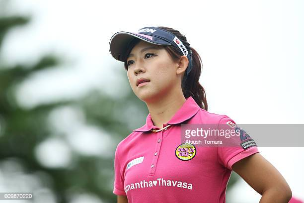 Kotono Kozuma of Japan looks on during the first round of the Miyagi TV Cup Dunlop Ladies Open 2016 at the Rifu Golf Club on September 23 2016 in...