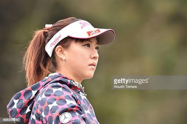 Kotono Kozuma of Japan looks on during the first round of the YAMAHA Ladies Open Katsuragi at the Katsuragi Golf Club Yamana Course on April 2 2015...