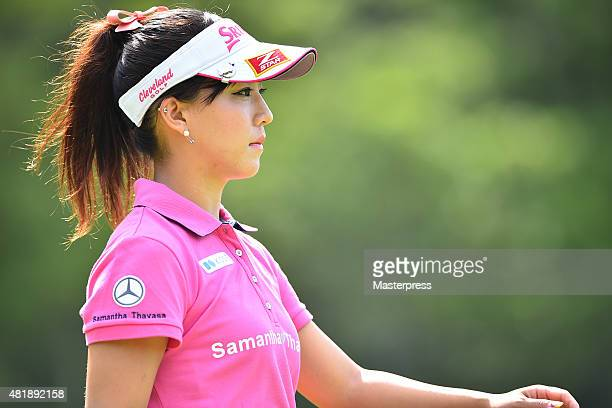 Kotono Kozuma of Japan looks on during the second round of the Century 21 Ladies Golf Tournament 2015 at the Izu Daijin Country Club on July 25 2015...