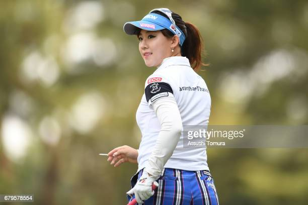 Kotono Kozuma of Japan looks on during the third round of the World Ladies Championship Salonpas Cup at the Ibaraki Golf Club on May 6 2017 in...