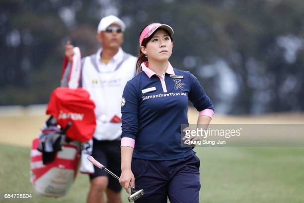 Kotono Kozuma of Japan on the 15th green in the second round during the TPoint Ladies Golf Tournament at the Wakagi Golf Club on March 18 2017 in...