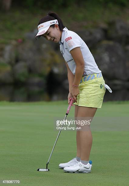 Kotono Kozuma of Japan plays a putt during the first round of the Resorttrust Ladies at the Maple Point Golf Club on May 29 2015 in Yamanashi Japan