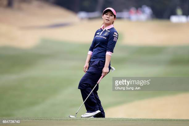 Kotono Kozuma of Japan plays a putt on the 15th green in the second round during the TPoint Ladies Golf Tournament at the Wakagi Golf Club on March...