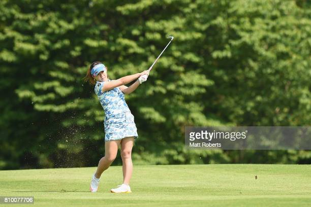 Kotono Kozuma of Japan plays her approach shot on the 1st hole during the first round of the Nipponham Ladies Classics at the Ambix Hakodate Club on...