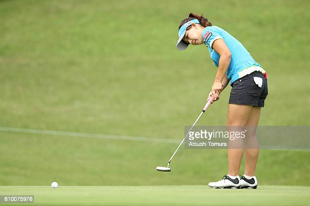 Kotono Kozuma of Japan putts for birdie on the 5th green during the second round of the Miyagi TV Cup Dunlop Ladies Open 2016 at the Rifu Golf Club...