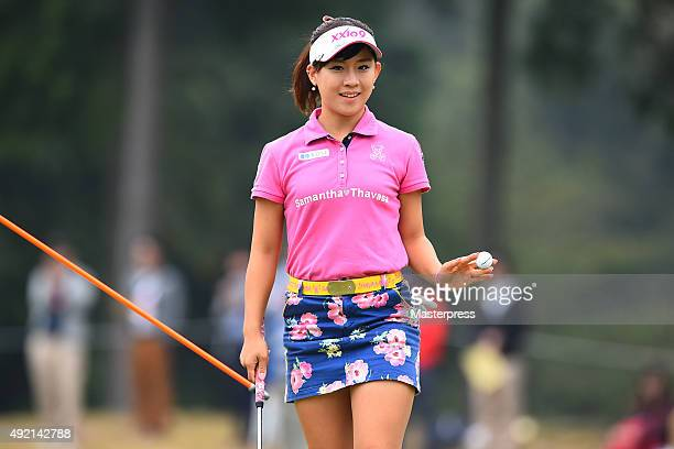 Kotono Kozuma of Japan reacts during the second round of Stanley Ladies Golf Tournament at the Tomei Country Club on October 10 2015 in Susono Japan