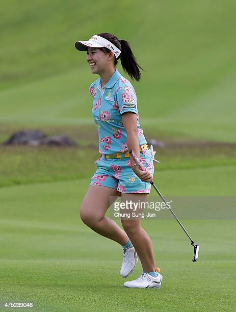 Kotono Kozuma of Japan reacts during the second round of the Resorttrust Ladies at the Maple Point Golf Club on May 30 2015 in Yamanashi Japan