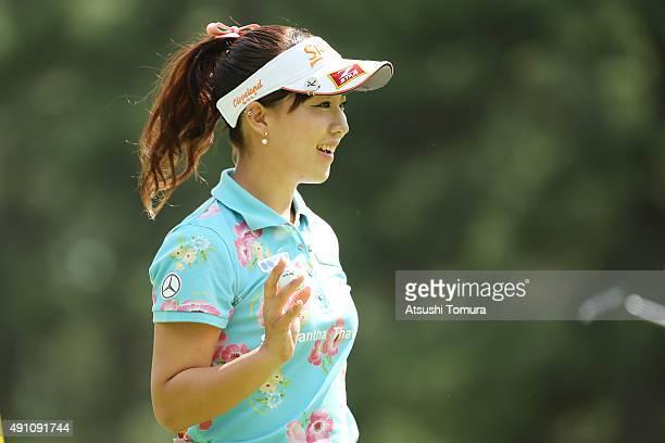 Kotono Kozuma of Japan reacts during the third round of Japan Women's Open 2015 at the Katayamazu Golf Culb on October 3 2015 in Kaga Japan