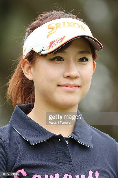 Kotono Kozuma of Japan smiles during the first round of the AXA Ladies Golf Tournament at the UMK Country Club on March 27 2015 in Miyazaki Japan