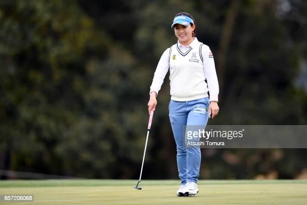 Kotono Kozuma of Japan smiles during the first round of the AXA Ladies Golf Tournament at the UMK Country Club on March 24 2017 in Miyazaki Japan