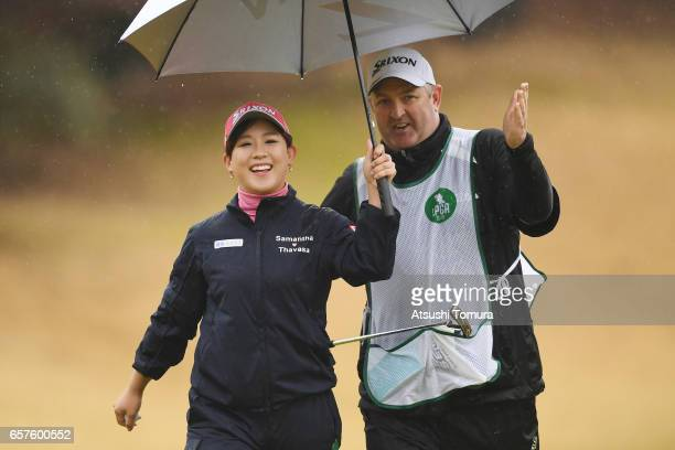 Kotono Kozuma of Japan smiles during the second round of the AXA Ladies Golf Tournament at the UMK Country Club on March 25 2017 in Miyazaki Japan