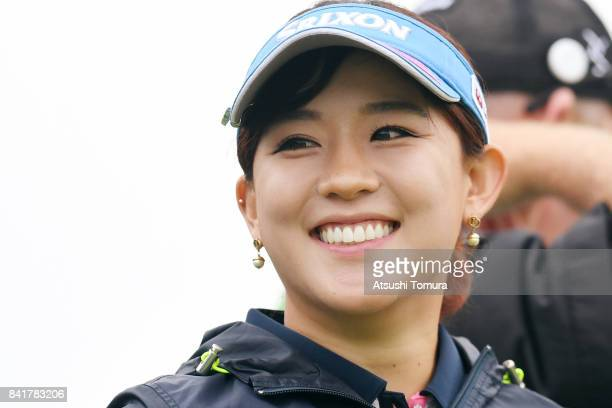 Kotono Kozuma of Japan smiles during the second round of the Golf 5 Ladies Tournament 2017 at the Golf 5 Country Oak Village on September 2 2017 in...