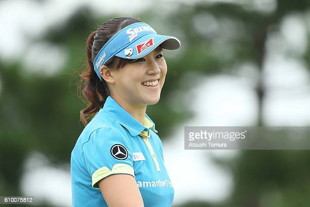 Kotono Kozuma of Japan smiles during the second round of the Miyagi TV Cup Dunlop Ladies Open 2016 at the Rifu Golf Club on September 24 2016 in Rifu...