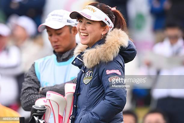 Kotono Kozuma of Japan smiles during the second round of the Studio Alice Open at the Hanayashiki Golf Club Yokawa Course on April 11 2015 in Miki...