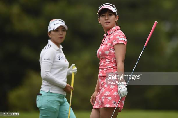 Kotono Kozuma of Japan watches her tee shot on the 2nd hole during the final round of the Nichirei Ladies at the on June 18 2017 in Chiba Japan