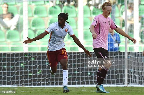 Kouassi Gervinho of Roma celebrates after scoring his team's third goal during the Serie A match between US Citta di Palermo and AS Roma at Stadio...