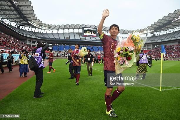 Kouji Nakata Atsushi Yanagisawa and Toru Araiba of Kashima Legends send final goodby to Kashima supporters participate in the J League 2015...