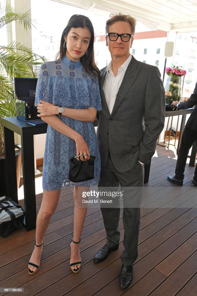 Kouka Webb (L) and Colin Firth attend a private lunch hosted by Colin & Livia Firth and Caroline Scheufele celebrating Chopard and the Journey to Sustainable Luxury at Versini, Five Seas Hotel, on May 23, 2017 in Cannes, France.