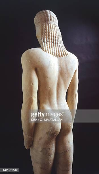 Kouros 550575 BC sculpture of the archaic age from Volomandra Posterior view Greek Civilization 6th Century BC Athens Ethnikó Arheologikó Moussío