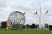 the Guiana Space Centre or CGS in French Replica of the Ariane5 rocket at the entrance to the Guiana Space Centre