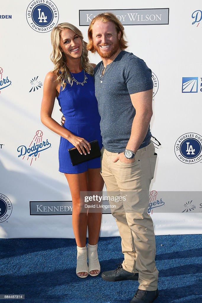 Kourtney Elizabeth and baseball third baseman Justin Turner arrive at the Los Angeles Dodgers Foundation Blue Diamond Gala at the Dodger Stadium on July 28, 2016 in Los Angeles, California.