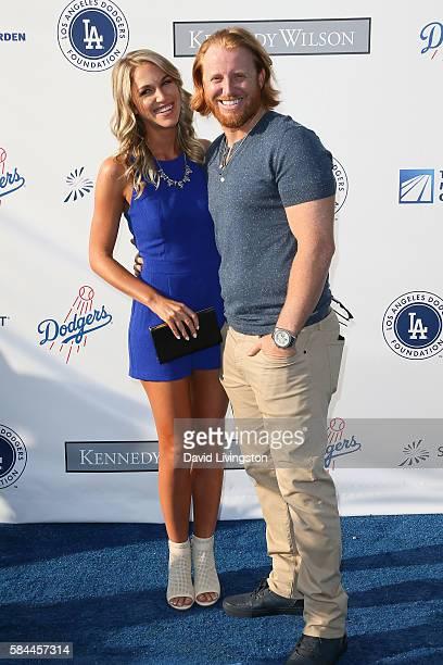 Kourtney Elizabeth and baseball third baseman Justin Turner arrive at the Los Angeles Dodgers Foundation Blue Diamond Gala at the Dodger Stadium on...