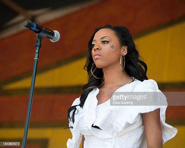 Kourtney Heart performs during day 5 of the 2011 New Orleans Jazz Heritage Festival at the Fair Grounds Race Course on May 6 2011 in New Orleans...