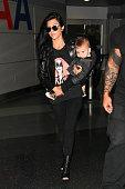 Kourtney Kardashian and Reign Aston Disick are seen at JFK on September 13 2015 in New York City