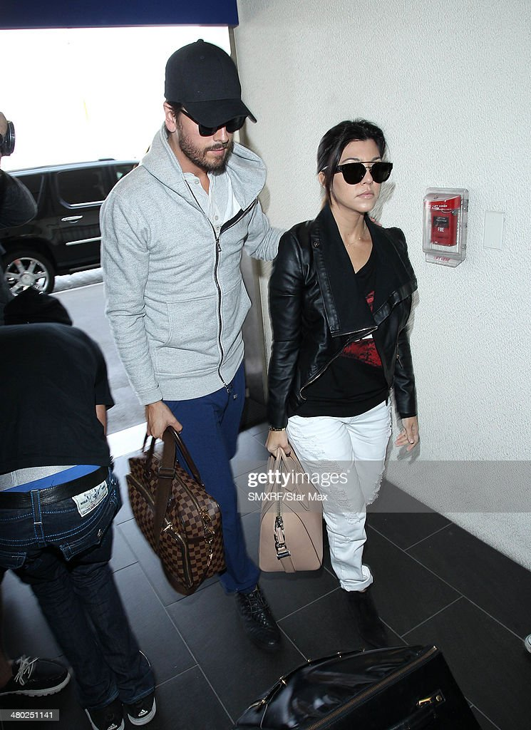 Kourtney Kardashian and Scott Disick are seen on March 22, 2014 in Los Angeles, California.