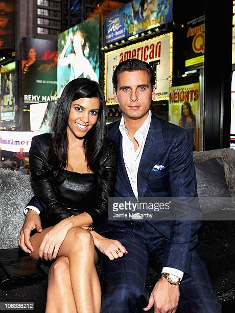 Kourtney Kardashian and Scott Disick attend the RLife live launch event at Renaissance New York Times Square on October 28 2010 in New York City