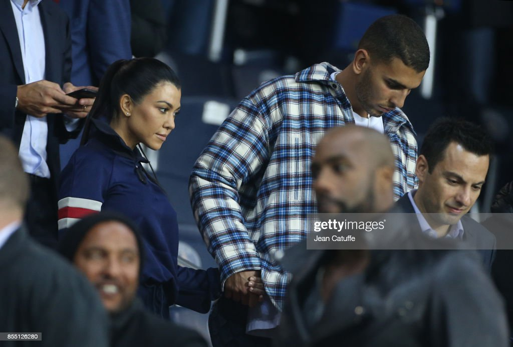 Kourtney Kardashian and Younes Bendjima attend the UEFA Champions League group B match between Paris Saint-Germain (PSG) and Bayern Muenchen (Bayern Munich) at Parc des Princes on September 27, 2017 in Paris, France.