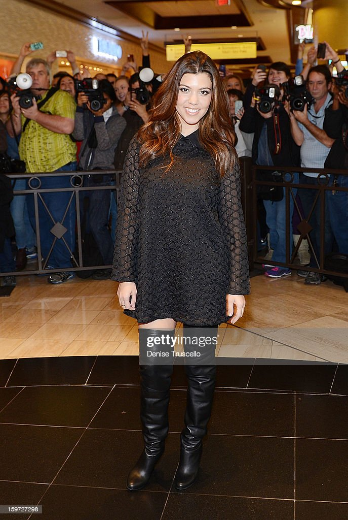 Kourtney Kardashian arrives at Kardashian Khaos at The Mirage Hotel and Casino on January 19, 2013 in Las Vegas, Nevada.
