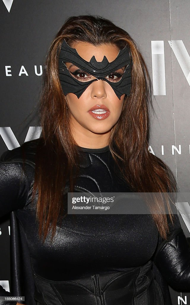 Kourtney Kardashian arrives at Kim Kardashian's Halloween party at LIV nightclub at Fontainebleau Miami on October 31, 2012 in Miami Beach, Florida.