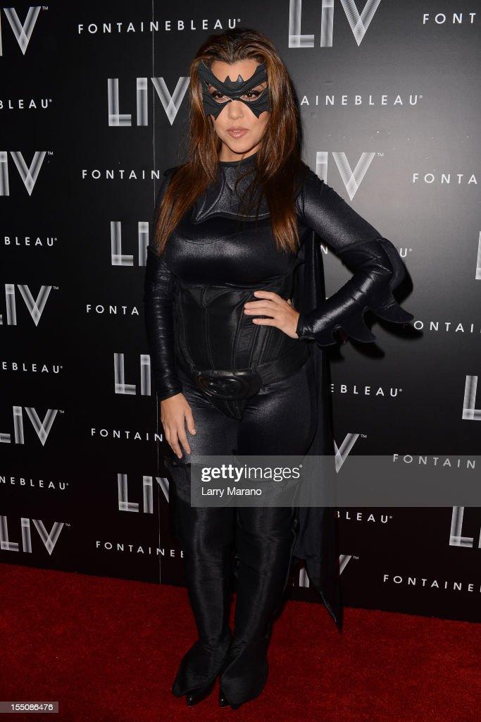 Kourtney Kardashian arrives at Kim Kardashian's Halloween party at LIV nightclub at Fontainebleau Miami on October 31, 2012 in Miami Beach, Florida.