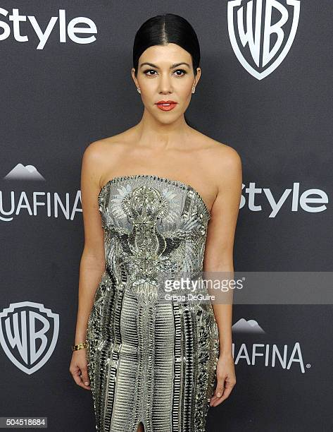 Kourtney Kardashian arrives at the 2016 InStyle And Warner Bros 73rd Annual Golden Globe Awards PostParty at The Beverly Hilton Hotel on January 10...