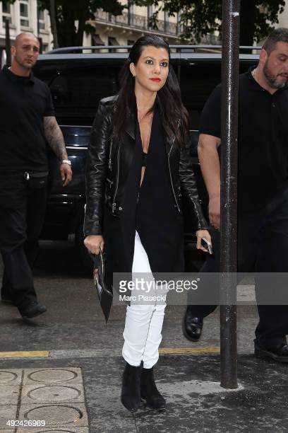 Kourtney Kardashian arrives at the 'Bonpoint' store on May 20 2014 in Paris France