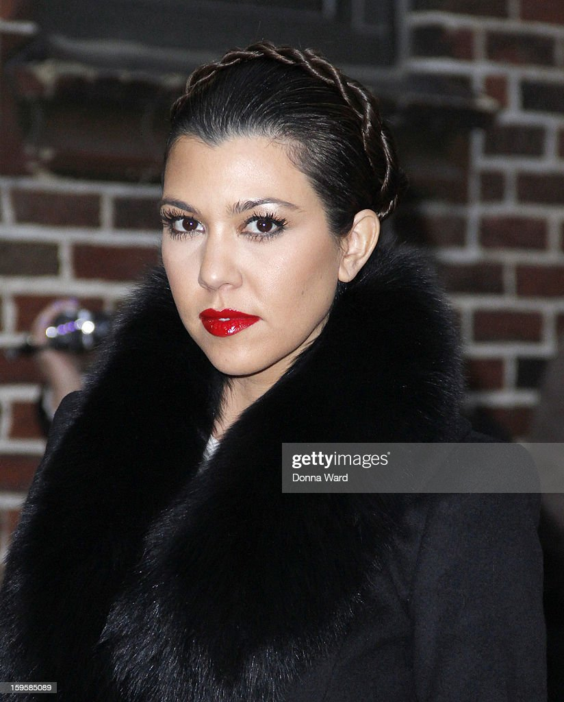 <a gi-track='captionPersonalityLinkClicked' href=/galleries/search?phrase=Kourtney+Kardashian&family=editorial&specificpeople=3955024 ng-click='$event.stopPropagation()'>Kourtney Kardashian</a> arrives for 'The Late Show with David Letterman' at Ed Sullivan Theater on January 16, 2013 in New York City.