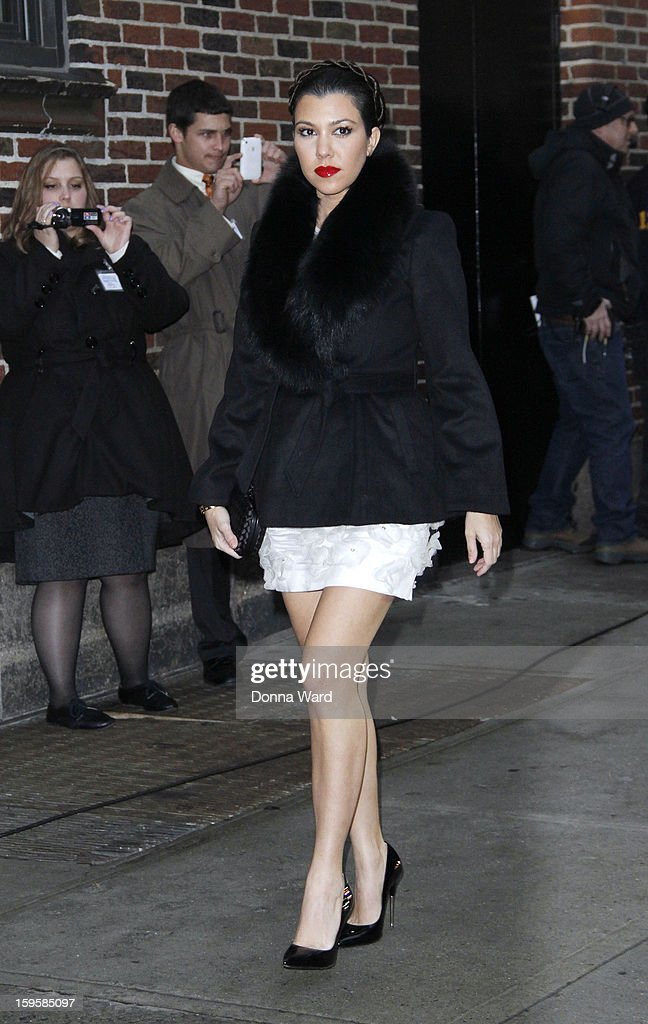Kourtney Kardashian arrives for 'The Late Show with David Letterman' at Ed Sullivan Theater on January 16, 2013 in New York City.