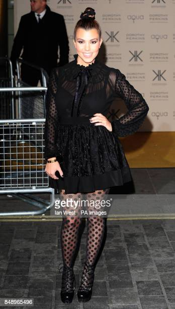 Kourtney Kardashian arriving at a party to celebrate the UK launch of the Kardashian Kollection at Aqua London