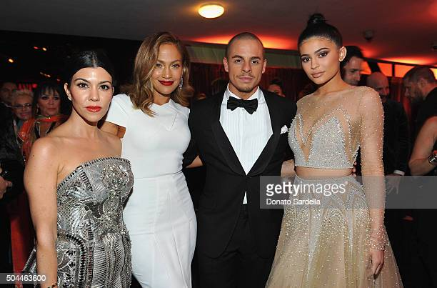 Kourtney Kardashian Jennifer Lopez Casper Smart and Kylie Jenner attend The 2016 InStyle and Warner Bros 73rd annual Golden Globe Awards PostParty at...