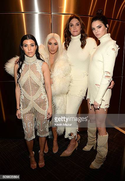 Kourtney Kardashian Kim Kardashian West Caitlyn Jenner and Kendall Jenner attend Kanye West Yeezy Season 3 at Madison Square Garden on February 11...