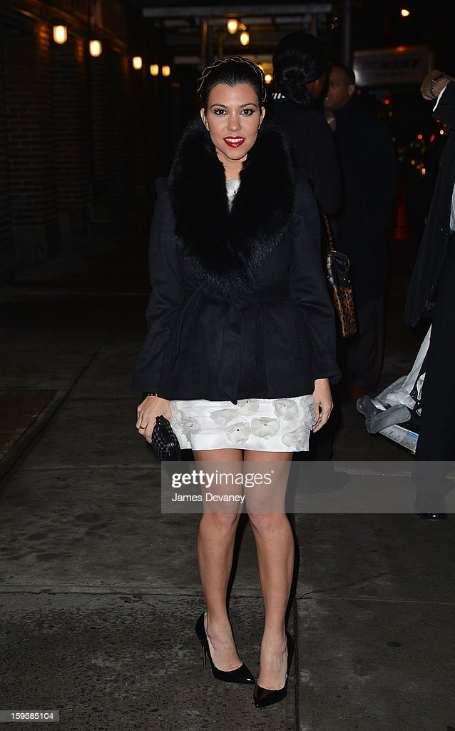 Kourtney Kardashian leaves 'Late Show with David Letterman' at Ed Sullivan Theater on January 16, 2013 in New York City.