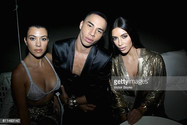 Kourtney Kardashian Olivier Rousteing and Kim Kardashian West attend the Balmain aftershow party as part of the Paris Fashion Week Womenswear...