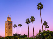 Koutoubia mosque in Marrakech at dusk. Morocco.